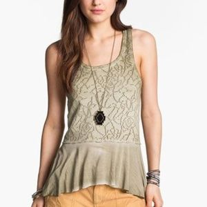 Free People Rally Perforated peplum tank top green
